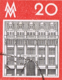 Stamp with house facade from Leipzig