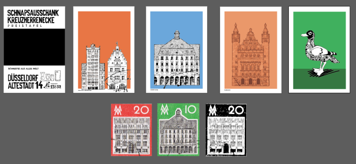 Screenshot of Illustrator with vectorised houses based of east German stamps from 1960s